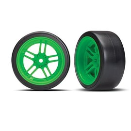 Traxxas TRA8377G Tires and wheels, assembled, glued (split-spoke green wheels, 1.9' Drift tires) (rear)