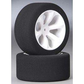 JACO JAC2050 1/10 Pink Rear Foam Tires Mounted On Prism Wheels (2)