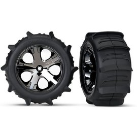 "Traxxas TRA3776 2.8"" Pre-Mounted Paddle Tires w/All-Star Black Chrome Nitro Rear Wheels (2)"