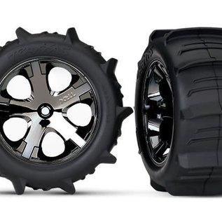 R Traxxas 3776 Rustler Paddle Wheels /& Tires 2 2 Allstar Black Chrome Wheels