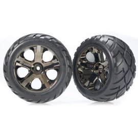 "Traxxas TRA3776A  Anaconda tires on All-Star black chrome wheels 2.8"" (2)"