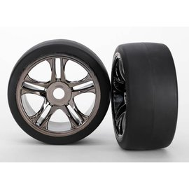 Traxxas TRA6479  XO-1 Black Chrome Front S1 Compound Tires & Wheels