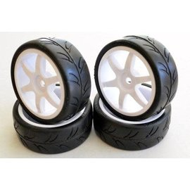 Gravity RC LLC GRC124 USGT Pre Glue Tire on GT 6 Spoke White wheel set of 4