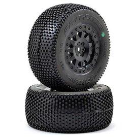 "Proline Racing PRO1183-25  Blockade SC 2.2""/3.0 M3 (Soft) Tires mounted on F-11 Black Wheel"