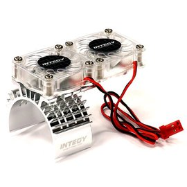 Integy T8534SILVER Motor Heatsink + Twin Cooling Fan for Traxxas 1/10 Slash 4X4