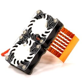 Integy C23137ORANGE Orange Motor Heatsink+Twin 40MM Cooling Fan
