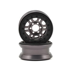 "Proline Racing PRO2764-02 Pro-Forge FaultLine 1.9"" (2) Gun Metal Anodized Aluminum and Black Bead-Loc Wheels"