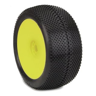AKA Racing AKA14113QRY 1:8 Truggy EVO Gridiron Super Soft Long Wear Pre Mtd Yellow ( O-Offset)