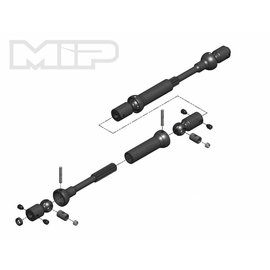 MIP MIP18190  X-Duty Center Drive Kit, 120mm to 145mm w/ 5mm Hubs, for Axial SMT10 Monster Trucks