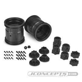 """J Concepts JCO3380B  Midwest Black 2.2"""" MT 12mm Hex Wheel w/ Adaptors (2pc)"""
