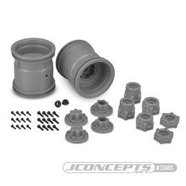 "J Concepts JCO3380S  Midwest Silver 2.2"" MT 12mm Hex Wheel w/ Adaptors (2pc)"