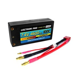 "Common Sense RC 2S4600-100B  Lectron Pro™ 7.4V 4600mAh 100C ""Shorty"" Lipo Battery with 4mm Bullet Connectors"