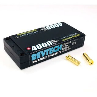 "Trinity REV2033-5  2S 7.6V 4000MAH 55C LCG  PRO Lite SHORTY ""GRAPHENE"" Lipo HI-Voltage Pack With 5MM Bullets 156 grams"