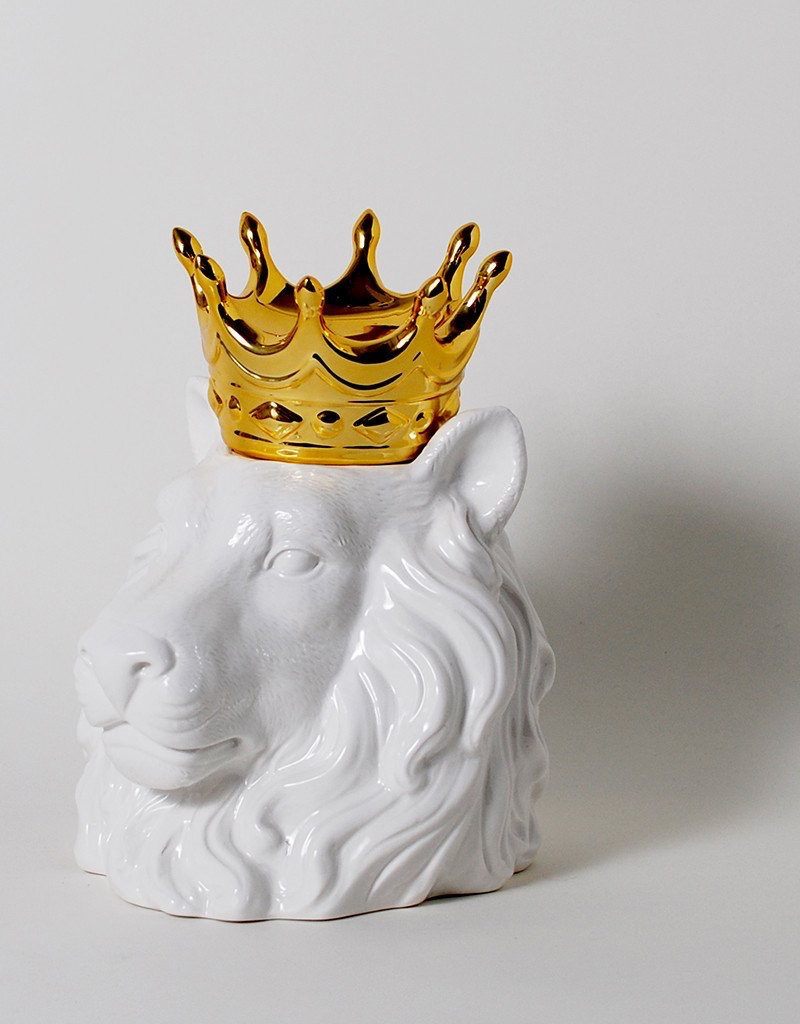 Crowned Heads Lion Ceramic Canister