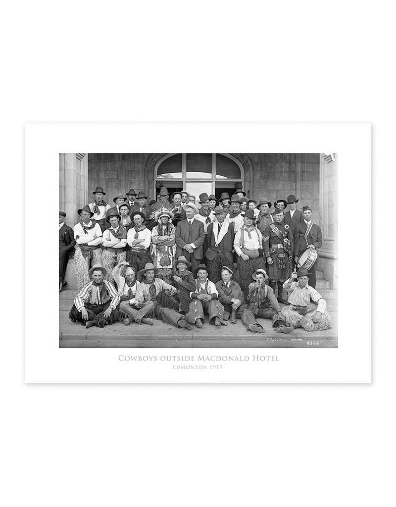 Cowboys Outside Macdonald Hotel Poster