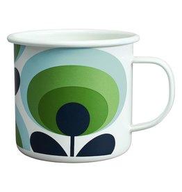 Enamel Mug 70s Flower Oval Apple 500ml