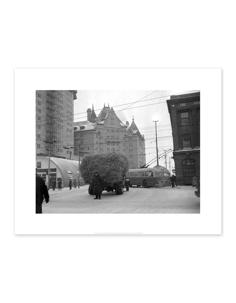 Truck of Hay Stalled on Jasper Avenue January 20, 1952