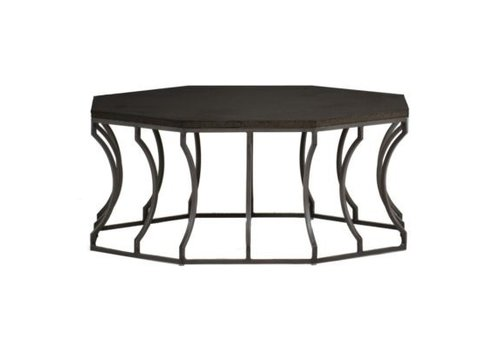 SUMMER CLASSICS AUDREY 39 INCH ROUND COFFEE TABLE WITH CHARCOAL BASE AND BLACK WALNUT SUPERSTONE TOP