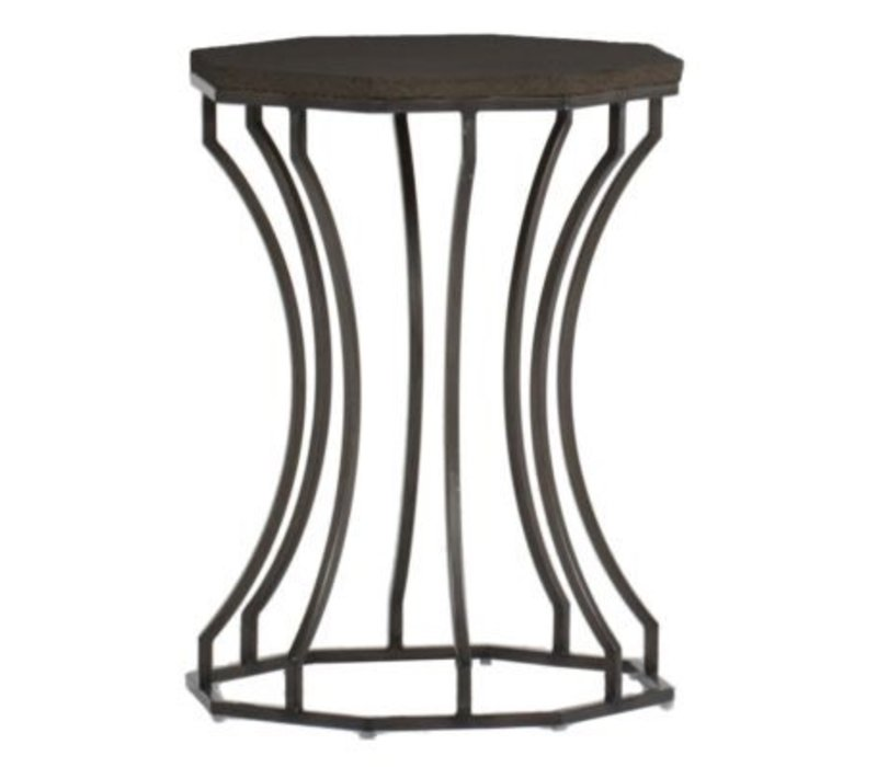 AUDREY 20 INCH ROUND END TABLE WITH CHARCOAL BASE AND BLACK WALNUT SUPERSTONE TOP