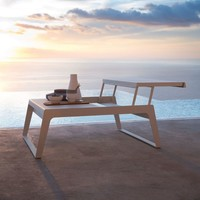 CHILL-OUT COFFEE TABLE WITH DUAL HEIGHT TOP IN WHITE ALUMINUM