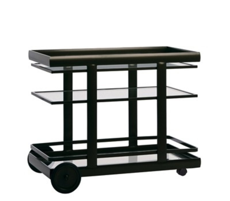 PARKWAY SERVING CART WITH GLASS TOP AND SHELF