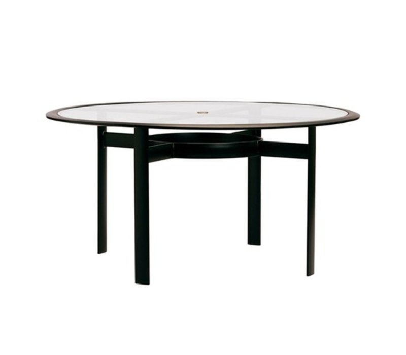 PARKWAY 54 ROUND UMBRELLA DINING TABLE WITH GLASS TOP