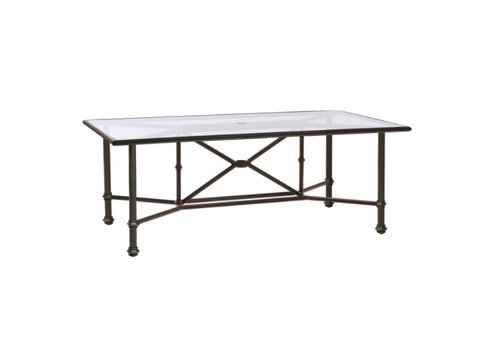 BROWN JORDAN CAMPAIGN 44 X 78 DINING TABLE WITH GLASS TOP AND UMBRELLA HOLE