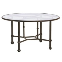 CAMPAIGN ROUND DINING TABLE  WITH GLASS TOP