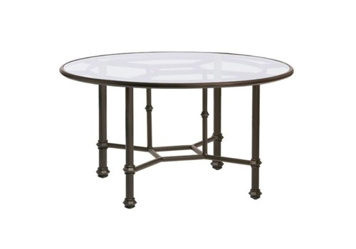 BROWN JORDAN CAMPAIGN ROUND DINING TABLE  WITH GLASS TOP