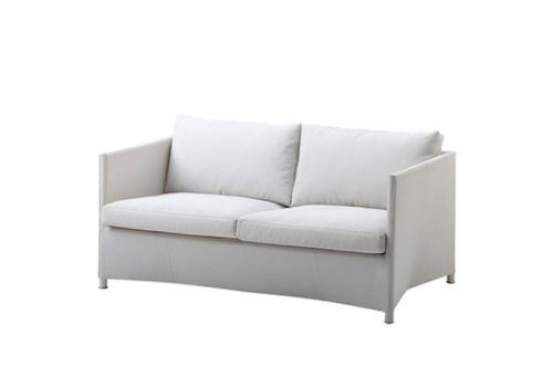 CANE-LINE DIAMOND 2-SEATER SOFA IN WHITE TEX WITH CUSHIONS IN WHITE TEX
