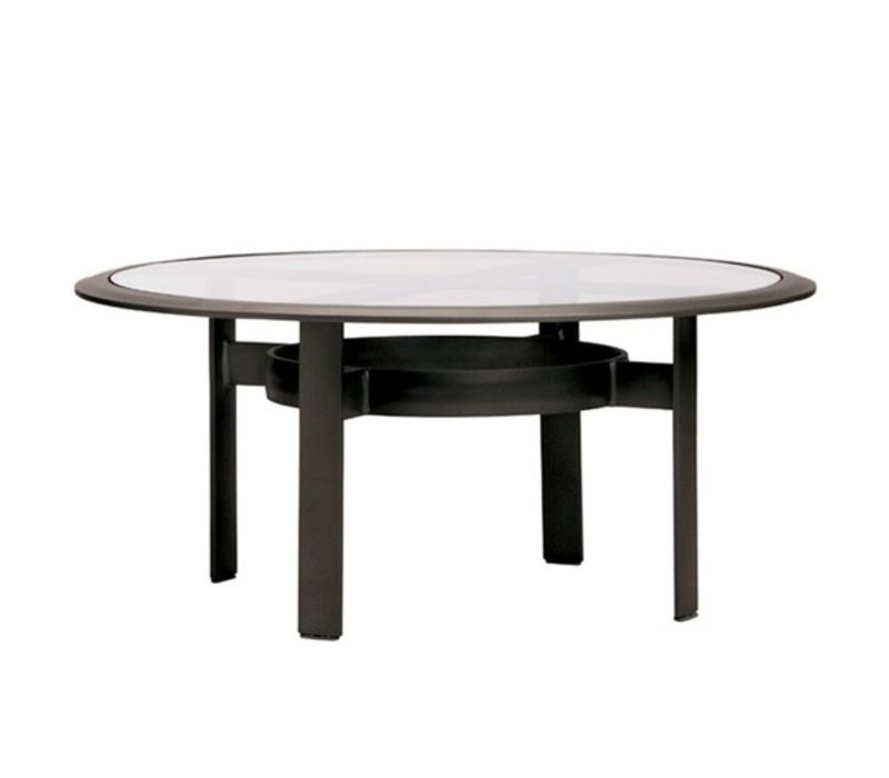 PARKWAY 45 INCH ROUND CHAT TABLE WITH GLASS TOP