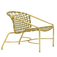 KANTAN BRASS LOUNGE CHAIR WITH SUNCLOTH STRAP