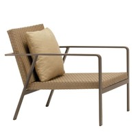 ELEMENTS LOUNGE CHAIR IN MOCA RESINWEAVE WITH 1 BACK PILLOW IN GRADE A FABRIC