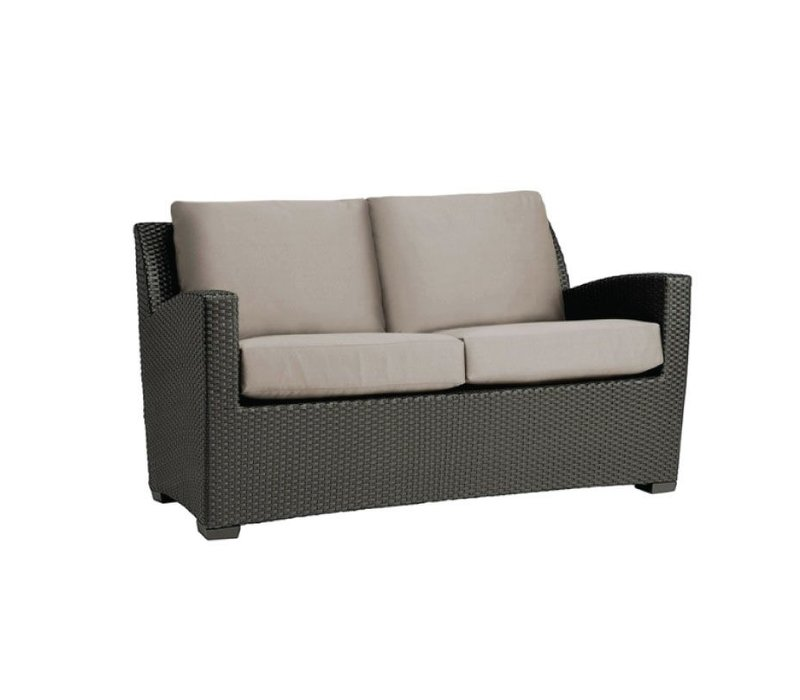 FUSION PILLOW BACK LOVESEAT IN BRONZE WITH GRADE A FABRIC