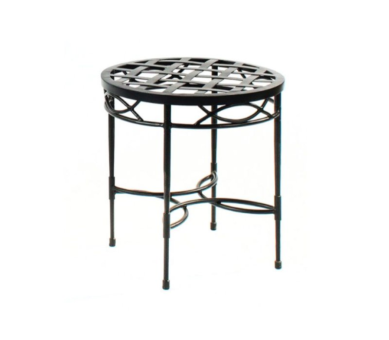 20 INCH ROUND SIDE TABLE WITH WOVEN TOP - EPOXY COATED STEEL
