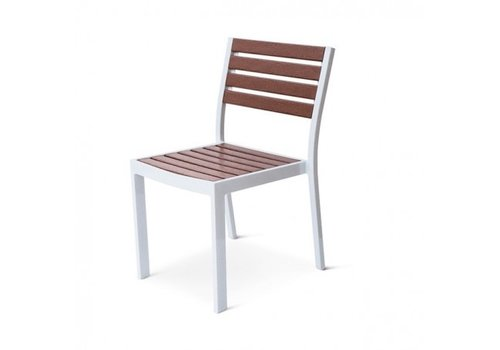 PAVILION ECOWOOD BLEAU STACKING SIDE CHAIR WITH STANDARD POWDER COATED ALUMINUM FRAME