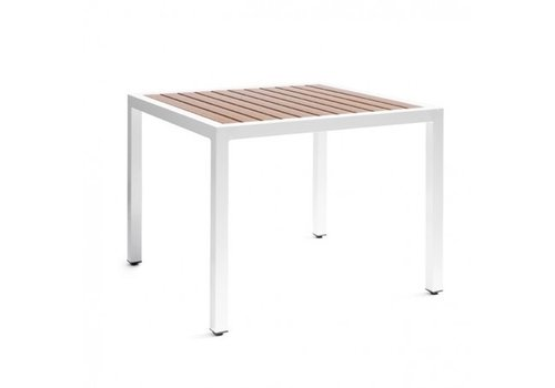 PAVILION ECOWOOD 39x39 DINING TABLE WITH STANDARD POWDER COATED ALUMINUM FRAME