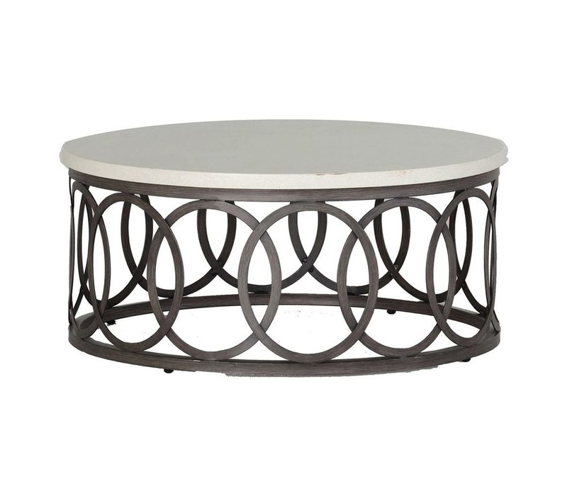 ELLA 36 INCH ROUND COFFEE TABLE WITH CHARCOAL BASE AND TRAVERTINE TOP