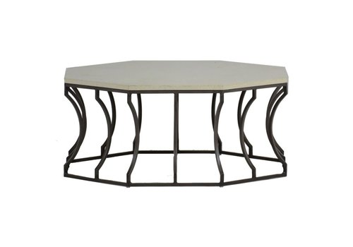 SUMMER CLASSICS AUDREY COFFEE TABLE WITH CHARCOAL BASE AND TRAVERTINE TOP