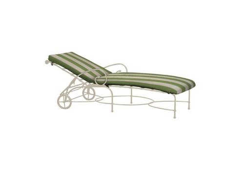 BROWN JORDAN FLORENTINE ADJUSTABLE CHAISE WITH WHEELS AND GRADE A FABRIC