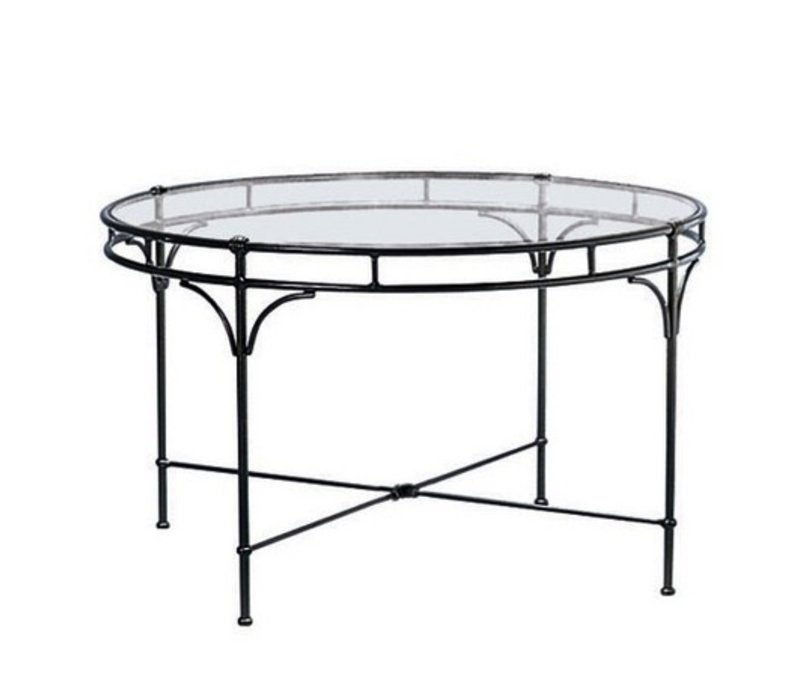 FLORENTINE ROUND DINING TABLE WITH GLASS TOP