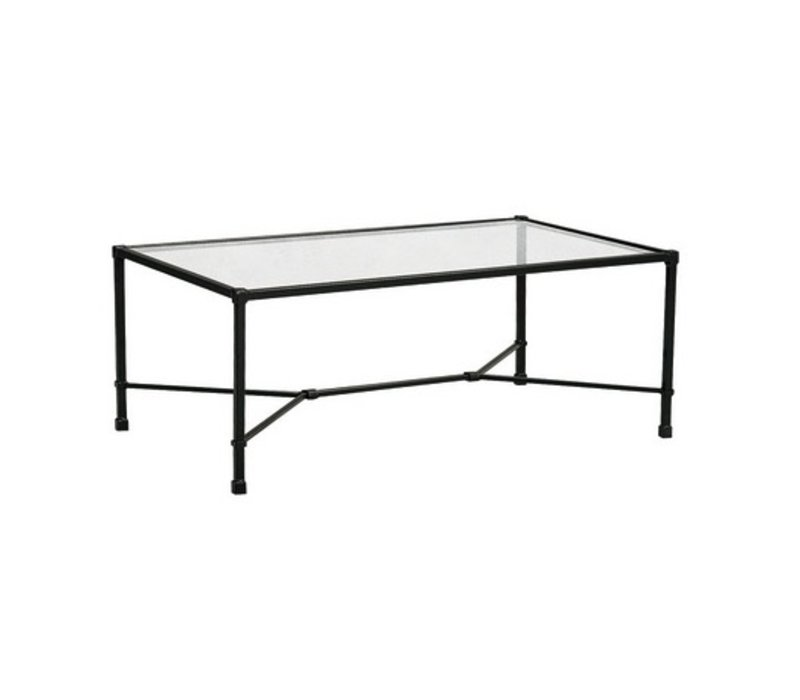 VENETIAN 26 x 43 RECTANGULAR COFFEE TABLE WITH GLASS TOP