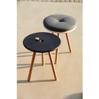 AREA TABLE/STOOL / LAVA GREY ALUMINUM TOP AND TEAK LEGS
