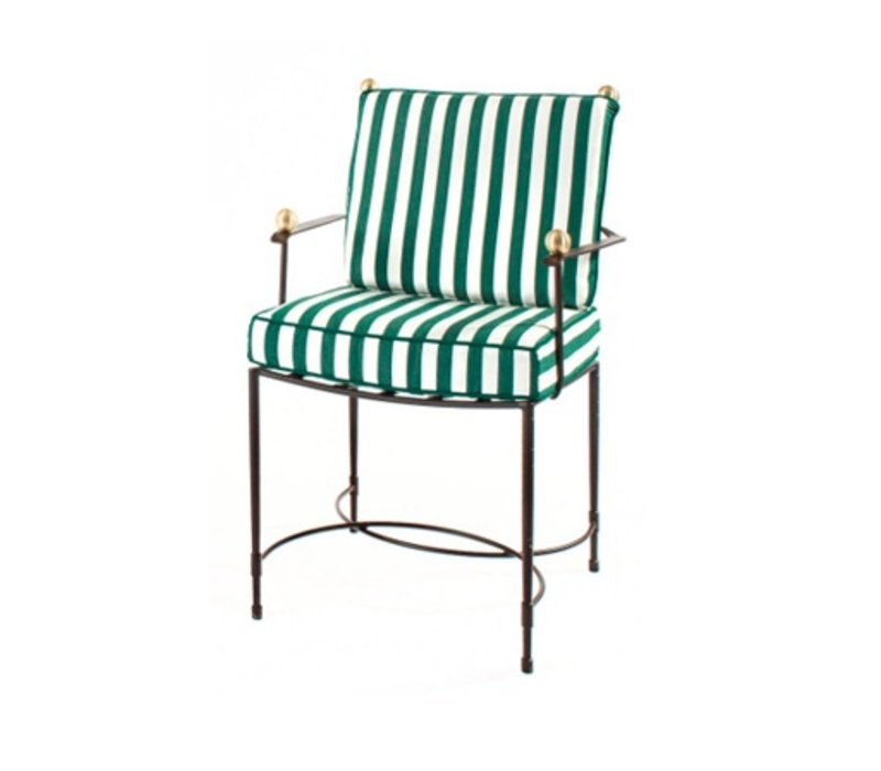 HOST DINING CHAIR IN EPOXY COATED STEEL WITH CUSHIONS IN SUNBRELLA FABRIC