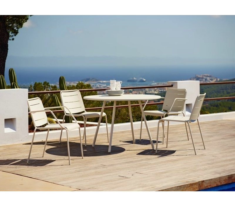 COPENHAGEN ARMCHAIR IN WHITE ALUMINUM / SOLD IN SETS OF 2 ONLY