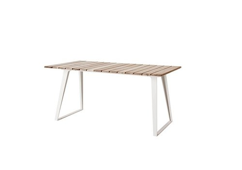 CANE-LINE COPENHAGEN EXTENSION DINING TABLE WITH WHITE ALUMINUM BASE AND TEAK TOP