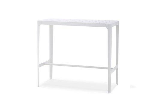 CANE-LINE CUT BAR TABLE IN WHITE ALUMINUM