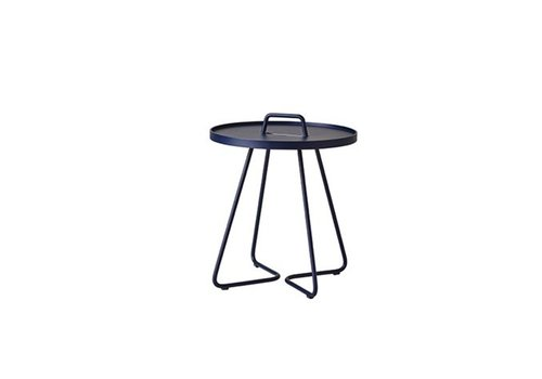 CANE-LINE ON-THE-MOVE SIDE TABLE, SMALL IN MIDNIGHT BLUE
