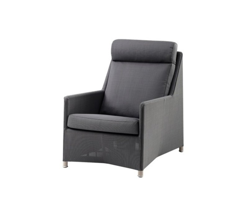 Cane Line Diamond Highback Chair In Grey Tex With Cushions In Grey