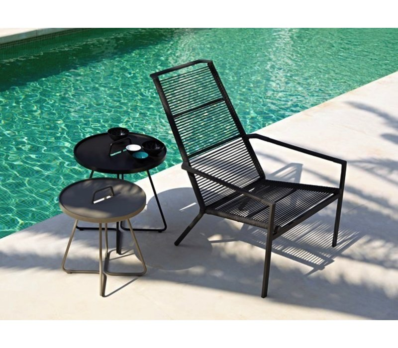 EDGE HIGHBACK CHAIR IN ANTHRACITE, CANE-LINE ROPE